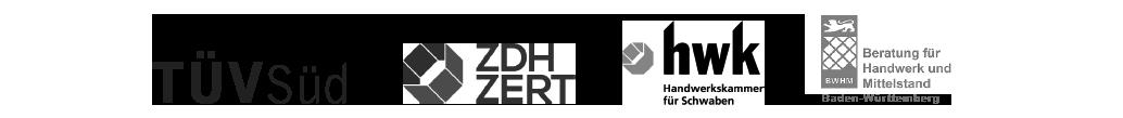 Kooperationspartner, TÜV Süd, ZDH Zert, HWK Handwerkskammer für Schwaben, BWHM Beratung für Handwerk und Mittelstand Baden-Württemberg